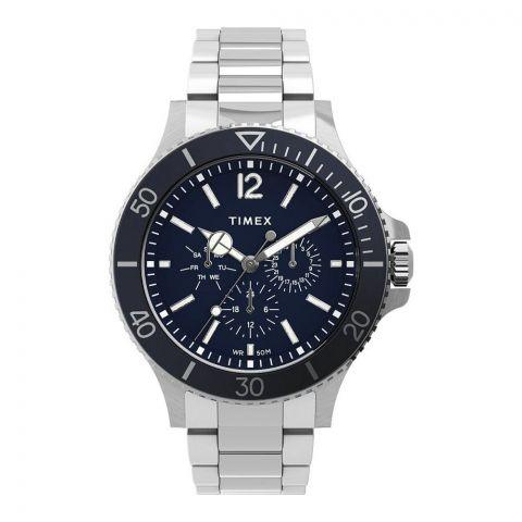 Timex Men's Harborside Multifunction 43mm Stainless Steel Watch, Blue Dial, TW2U13200