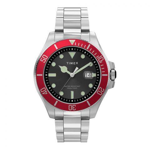 Timex Men's Harborside Coast 43mm Chrome Case Red Stainless Watch, TW2U41700