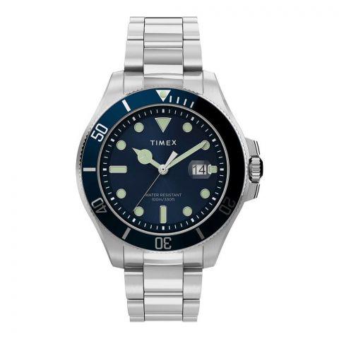 Timex Men's Harborside Coast 43mm Chrome Case Blue Stainless Watch, TW2U41900