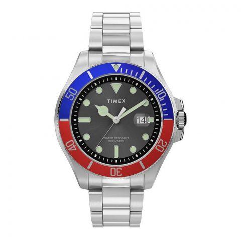 Timex Men's Harborside Coast 43mm Chrome Case Red-Blue Stainless Watch, TW2U71900