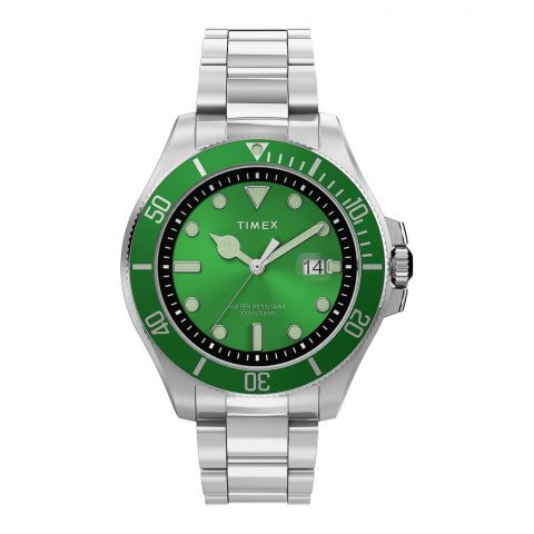 Timex Men's Harborside Coast 43mm Chrome Case Silver-Green Stainless Watch, TW2U72000