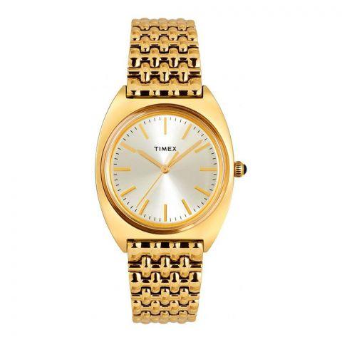 Timex Women's Milano 33mm Stainless Steel Bracelet Watch, Golden, TW2T90400