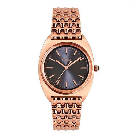Timex Women's Milano 33mm Stainless Steel Bracelet Watch, Black Dial, TW2T90500