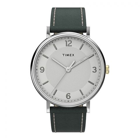 Times Men's Southview 41mm Watch Grey Leather Band Watch, TW2U67500