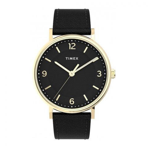 Times Men's Southview 41mm Watch Black Leather Band Watch, Back Dial, TW2U67600