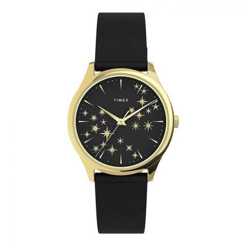 Timex Women's Starstruck 32mm Black Leader Strap Watch, Gold, TW2U57300