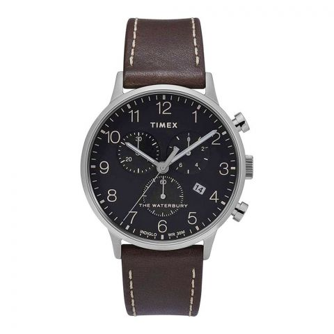 Timex Men's Waterbury Classic Chronograph 40mm Leather Strap Watch, TW2T28200