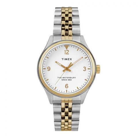 Timex Women's Waterbury Stainless Steel Analog White Dial Women's Watch, Golden-Silver Tone, TW2R69500