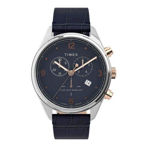 Timex Men's Chronograph Waterbury Traditional Leather Strap Watch, TW2U04600