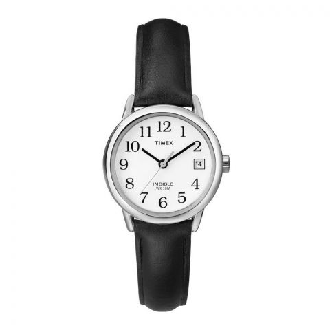 Timex Women's Indiglo Leather Strap White Dial Watch, T2H331