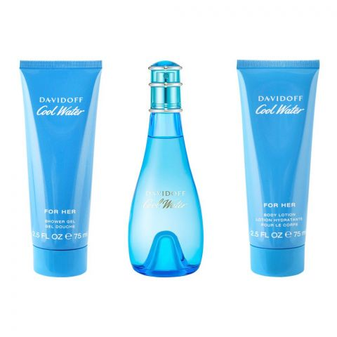 Davidoff Cool Water Pour Elle Perfume Set For Women, EDT 100ml + Shower Gel + Body Lotion