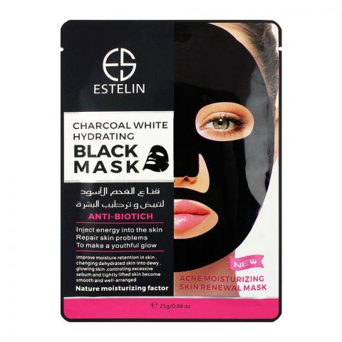 Estelin Charcoal White Hydrating Black Facial Mask, 25g