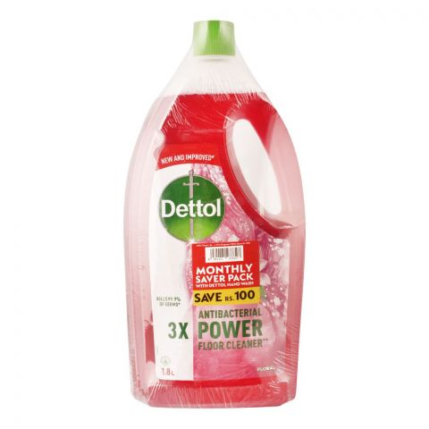 Dettol Multi-Purpose Floral Cleaner, 1.8 Liters, With Hand Wash, 150ml