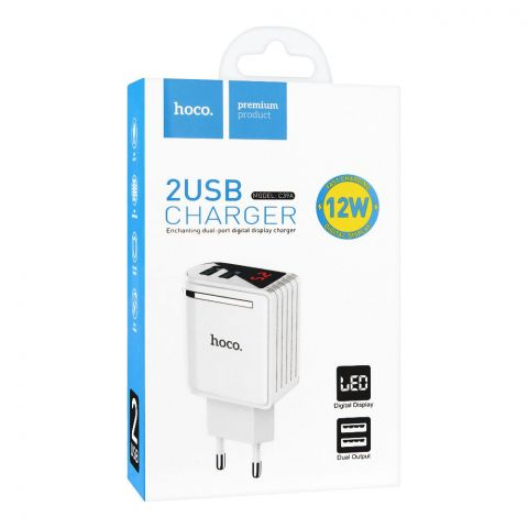 Hoco 2-USB Charger, White, C39A