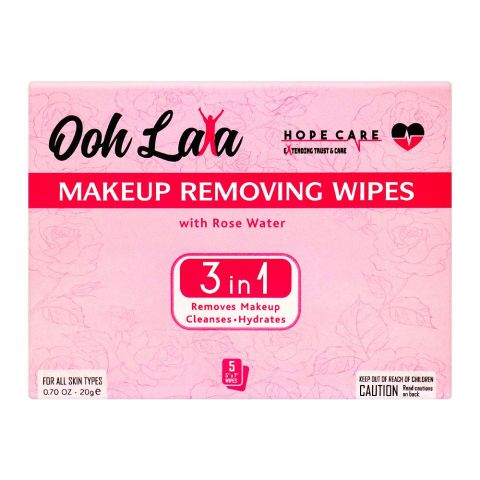 Ooh Lala 3-In-1 Rose Water Makeeup Removing Wipes, For All Skin Types, 5-Pack