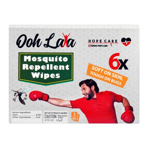 Ooh Lala Mosquito Repellent Wipes, 5-Pack