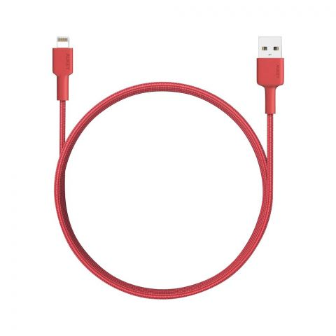 Aukey Braided Nylon Sync & Charge Cable, 6.6ft, Red, CB-BAL4