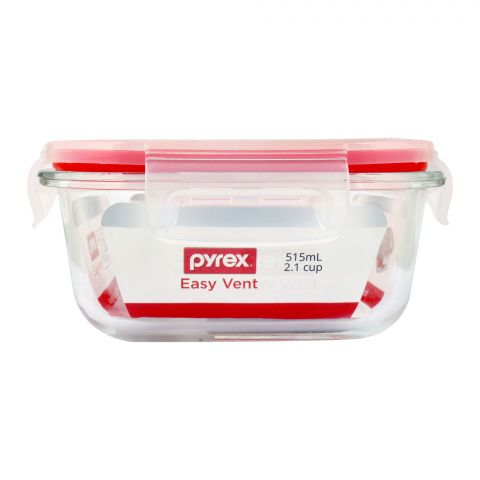 Pyrex Easy Vent Square Glass Food Storage With Lid, 515ml, PX-EV515S