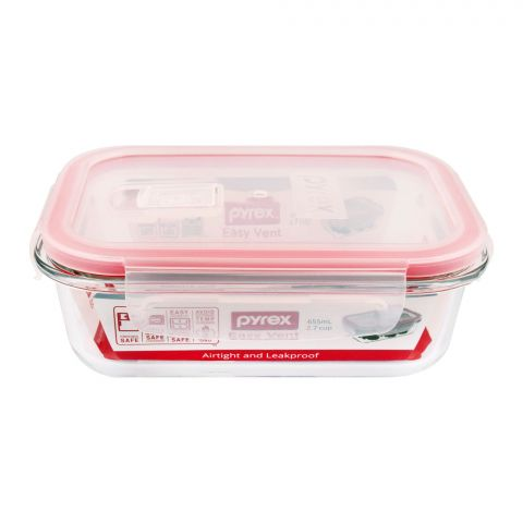 Pyrex Easy Vent Rectangular Glass Food Storage With Lid, 655ml, PX-EV655RC