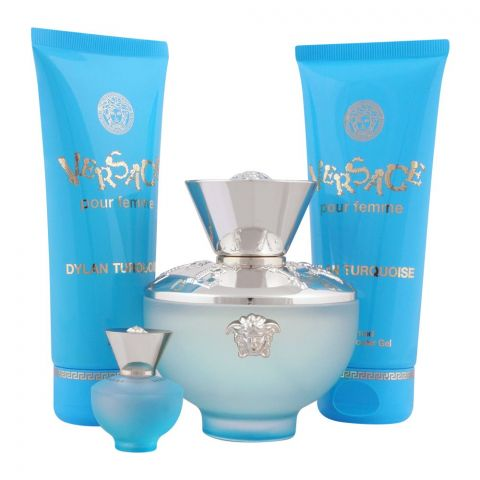Versace Dylan Turquoise Pour Femme Perfume Set For Women, EDT 100ml + EDT 5ml + Body Gel + Shower Gel