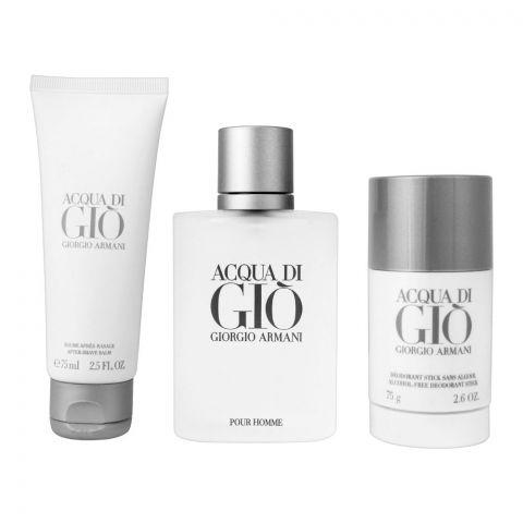 Giorgio Armani Acqua Di Gio Pefume Set, EDT 100ml + After Shave Balm + Deodorant Stick