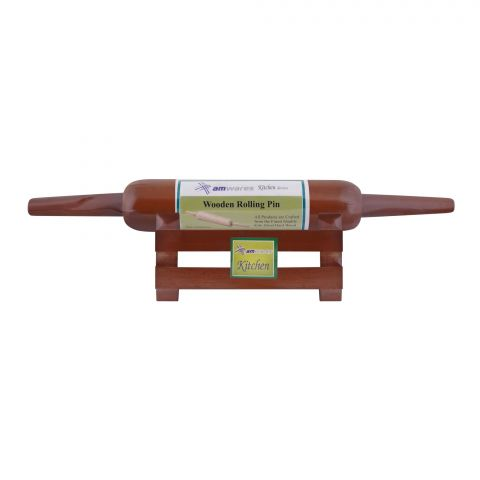 Amwares Mango Wood Pin Roller With Stand, Colored, 006008
