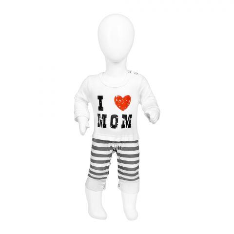 Baby Nest Jumpsuit With Cap, I Love Mom, BNBJS-05
