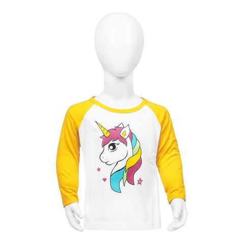 Baby Nest Full Sleeves T-Shirt, Yellow & White