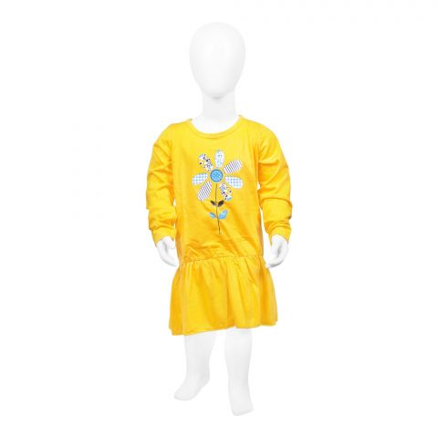 Baby Nest Full Sleeves Frock, Yellow