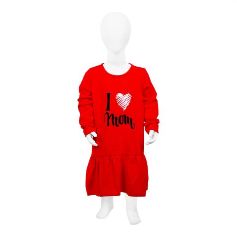 Baby Nest Full Sleeves Frock, Red