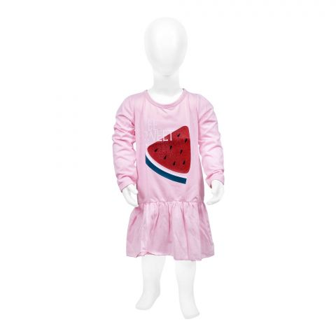 Baby Nest Full Sleeves Frock, Pink
