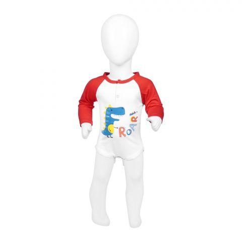Baby Nest Full Sleeves Romper, Red & White