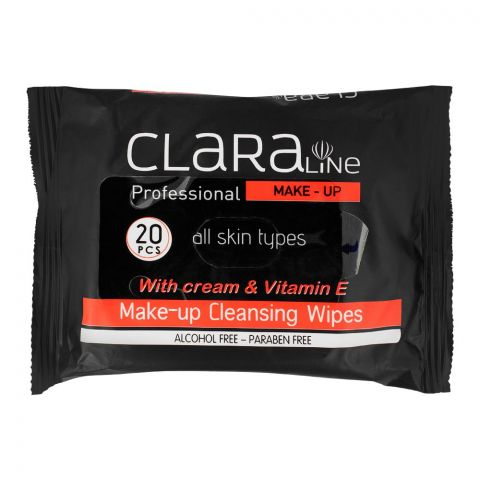Claraline Professional Paraben Free Make-Up Cleansing Wipes, 20-Pack