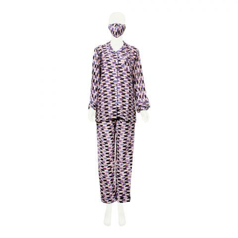 Basix Women's Loungewear, 4 Piece Set, Multi-Color Abstract, 506
