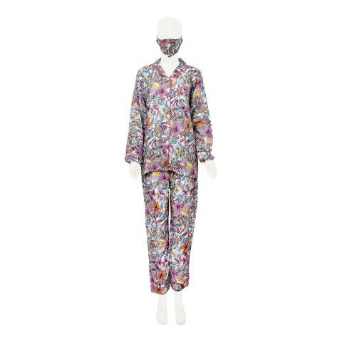 Basix Women's Loungewear, 4 Piece Set, Pink Yellow White Flowers, 508