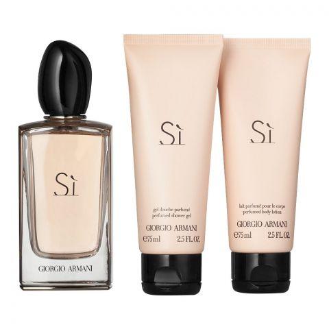 Giorgio Armani Si Perfume Set, For Women, EDP 100ml + Body Lotion + Shower Gel
