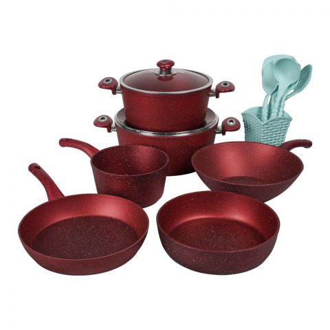 Des Chef Cooking Set, 15 Pieces, GL Red