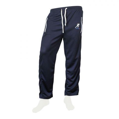 Basix Men's Jogging Fashion Mesh Trouser, Navy With White Accents, JT-702