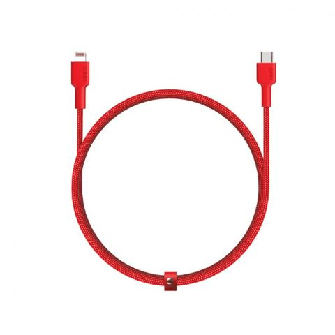 Aukey Braided Nylon Iphone USB-C To Lightening Sync & Charge Cable, 6.6ft, Red, CB-CL2