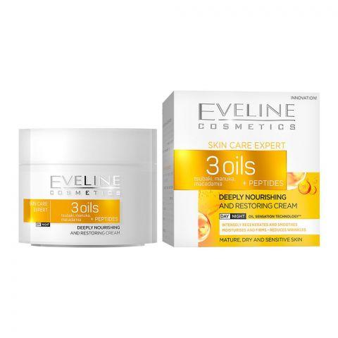 Eveline Skin Care Expert 3 Oils Deeply Nourishing And Restoring Day & Night Cream, 50ml