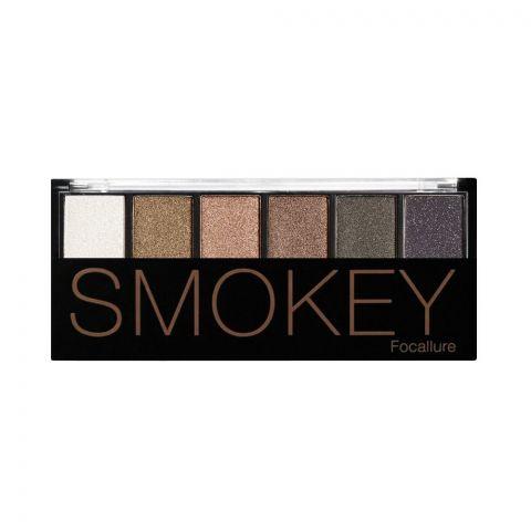 Focallure Smokey Eyeshadow Palette, 6 Shades, 01