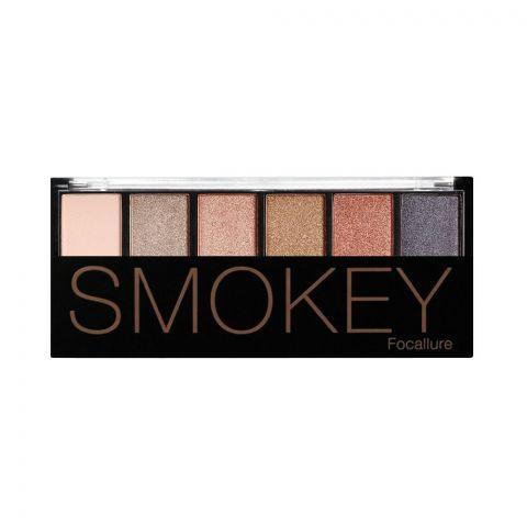 Focallure Smokey Eyeshadow Palette, 6 Shades, 06