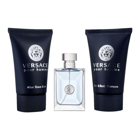 Versace Pour Homme Perfume Set For Men, EDT 5ml+ Shampoo 25ml + After Shave Balm 25ml