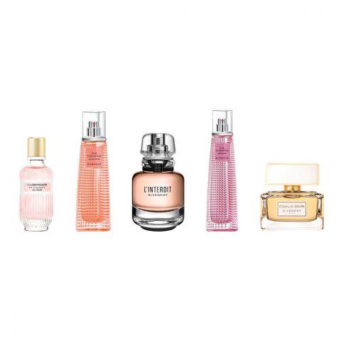 Givenchy Mini Perfume Set For Women, Dahlia Divin EDP 5ml + Live EDT 3ml + L'Interdit 10ml + Blossm Crush 3ml + Eaudemoiselle 4ml