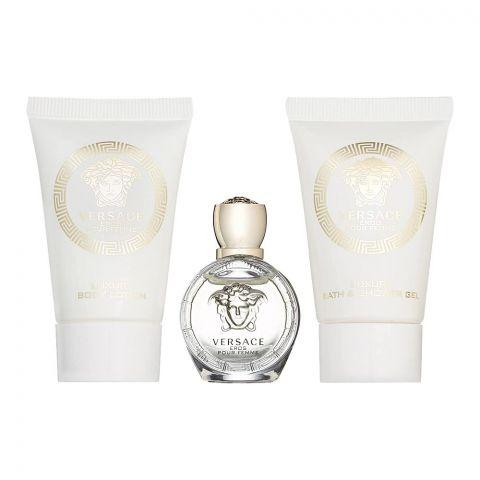 Versace Eros Pour Femme Perfume Set For Women, EDP 5ml + Shower Gel 25ml + Body Lotion 25ml