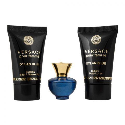 Versace Dylan Blue Pour Femme Perfume Set For Women, EDP 5ml + Shower Gel 25ml + Body Lotion 25ml