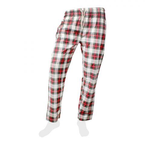 Basix Men 100% Cotton Yarn Dyed Checkered Pajama, White/Red, MT-902
