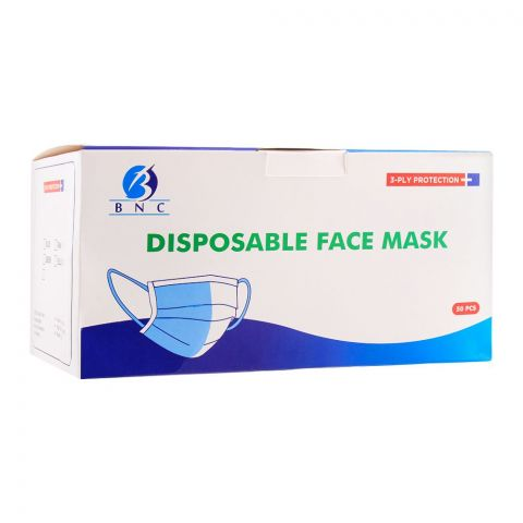BNC Disposable Face Masks, 3-Ply, 50-Pack