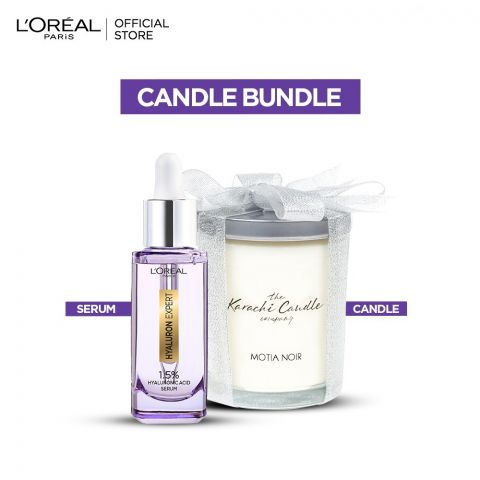 Buy L'Oreal Hyaluron Expert 1.5% Hyaluronic Acid Replumping Serum 30ml - Get a FREE Karachi Company Candle