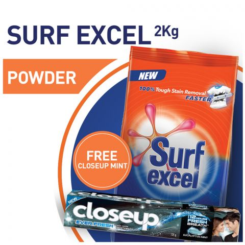 Surf Excel 2 KG + FREE Closeup Eucalyptus Mint Toothpaste 125g